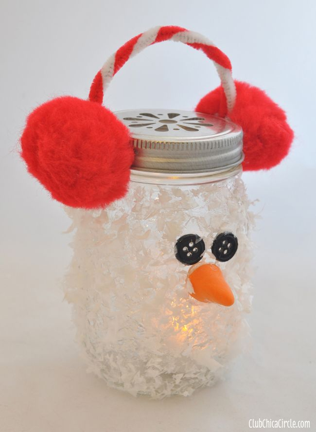 Frosty mason jar luminary decoration using glue