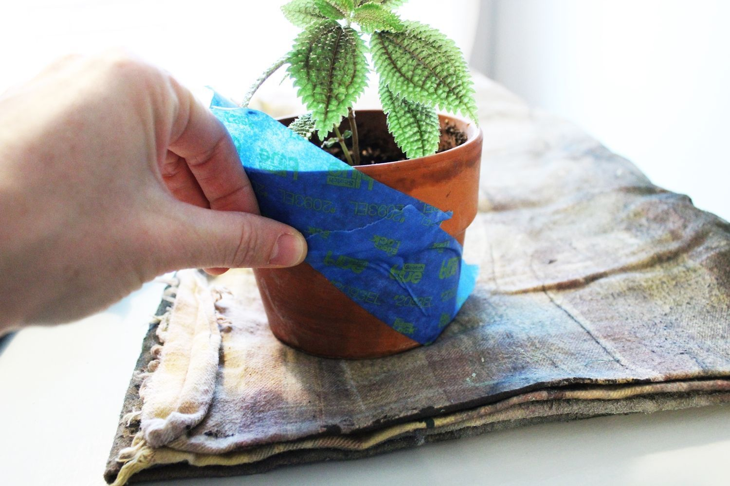 Geometric Painted Planter Apply Tape