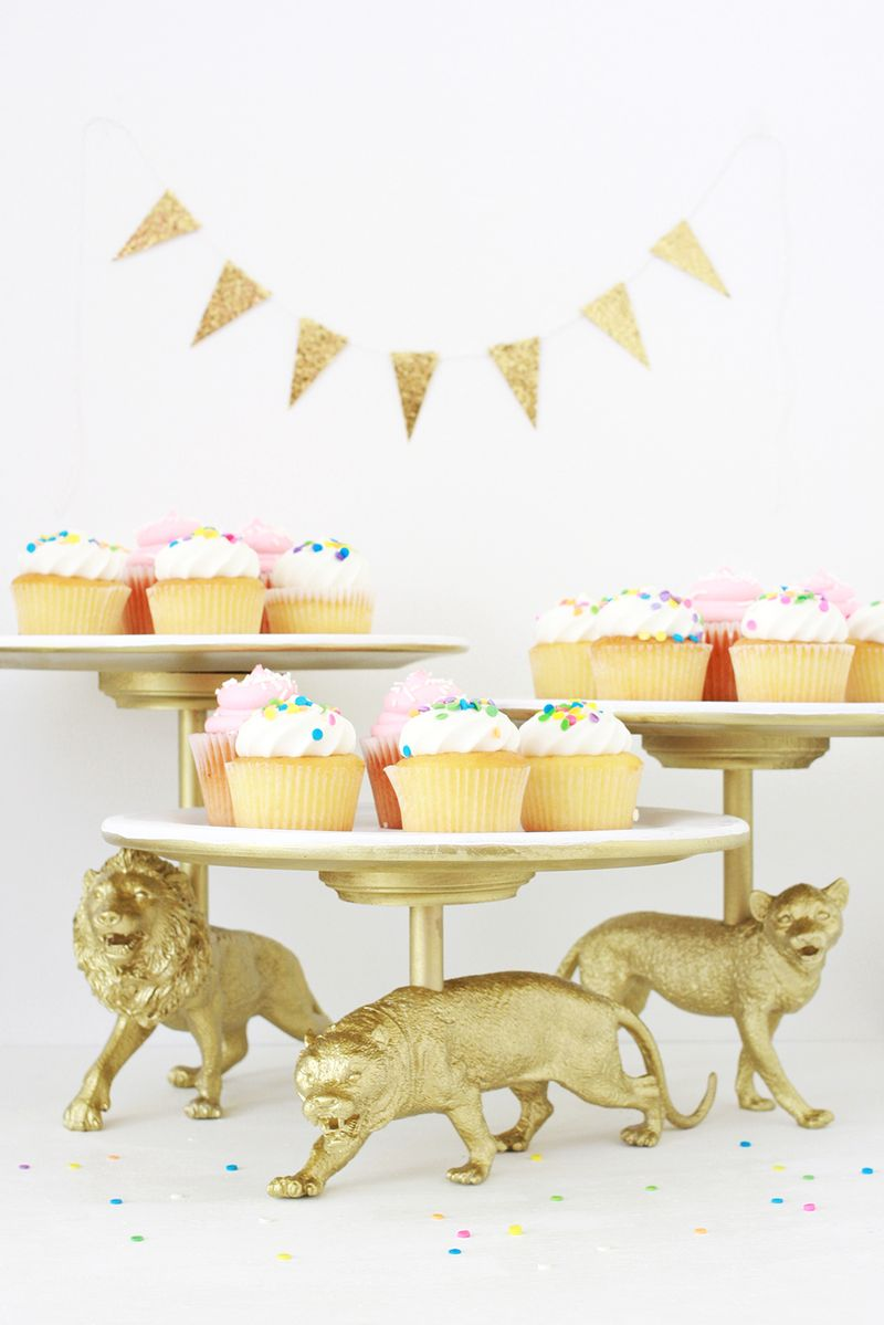 Gold Wild Cat cake stand diy