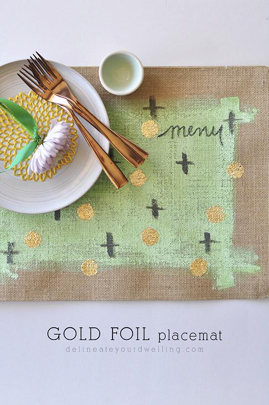 Gold foil burlap placemat