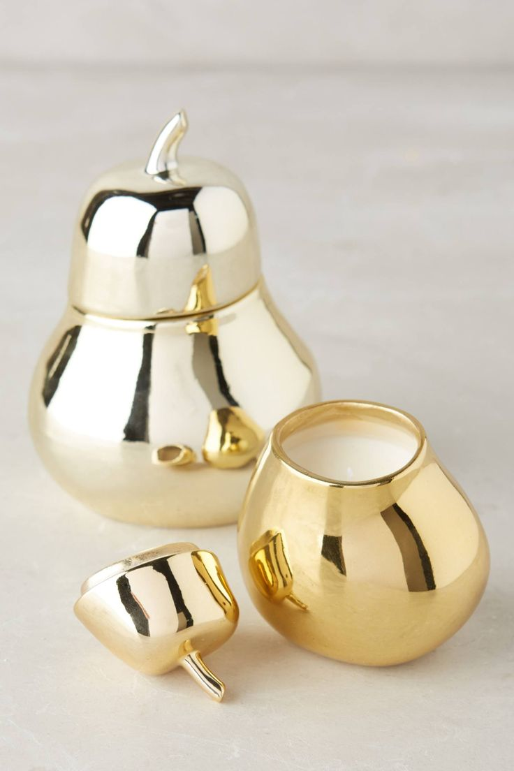 Gold pear candle