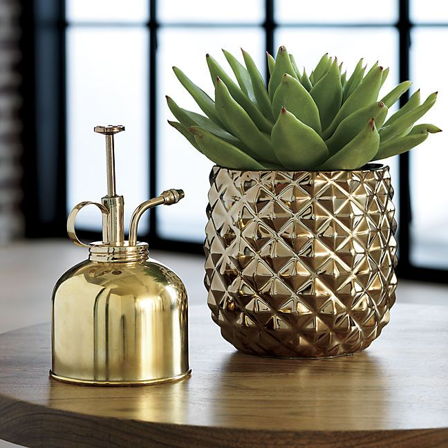 Gold pineapple planter