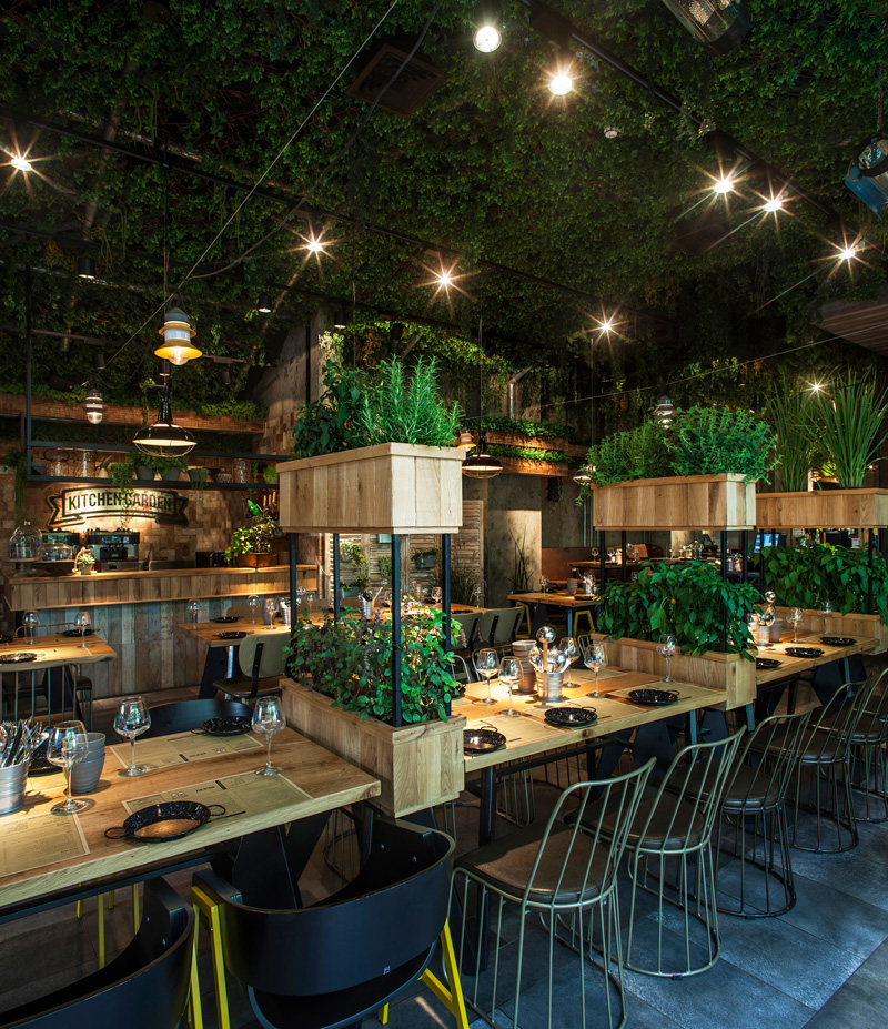 Restaurants with striking ceiling designs for Kitchen garden decoration