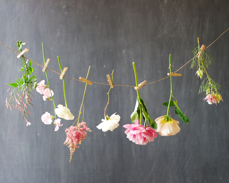 Hanging flowers with clothespins