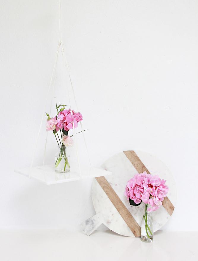 Hanging marble shelving - flower vase