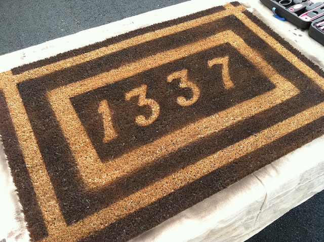 House numbers welcome mat
