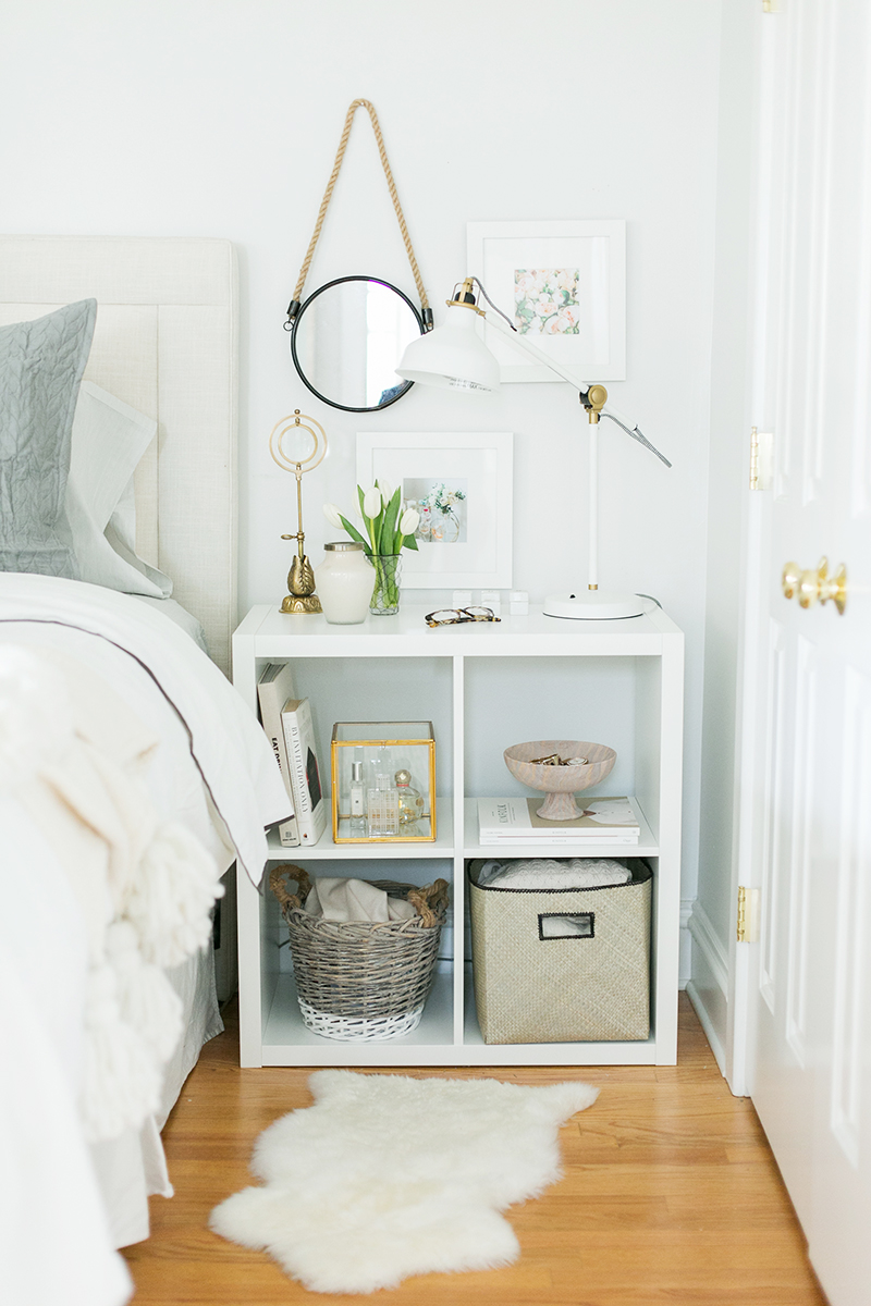 Ikea's smallest expedit shelf - the kallax - as a nightstand