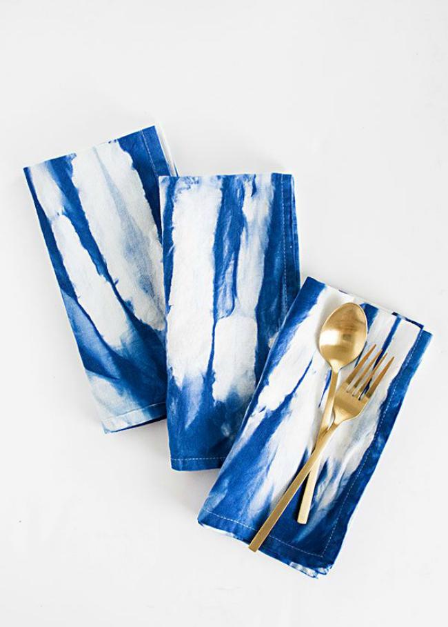 Indigo dye napkins