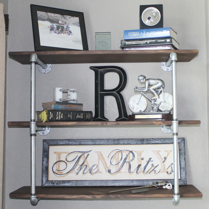 Industrial bookshelves with pipes