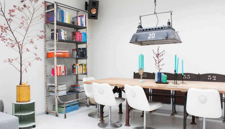 Industrial storage space for dining area