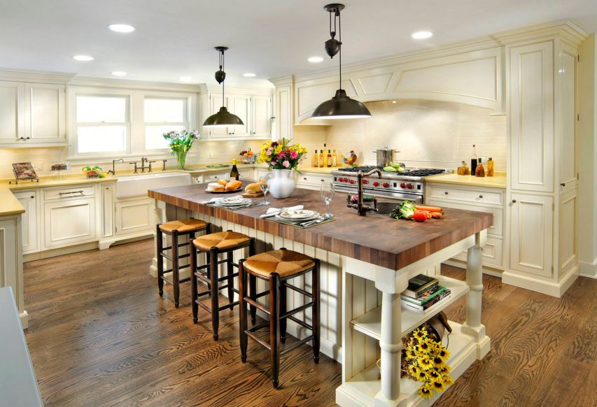 Multi Functional. Kitchen Island With Bucther Block Countertop Used Like  Table