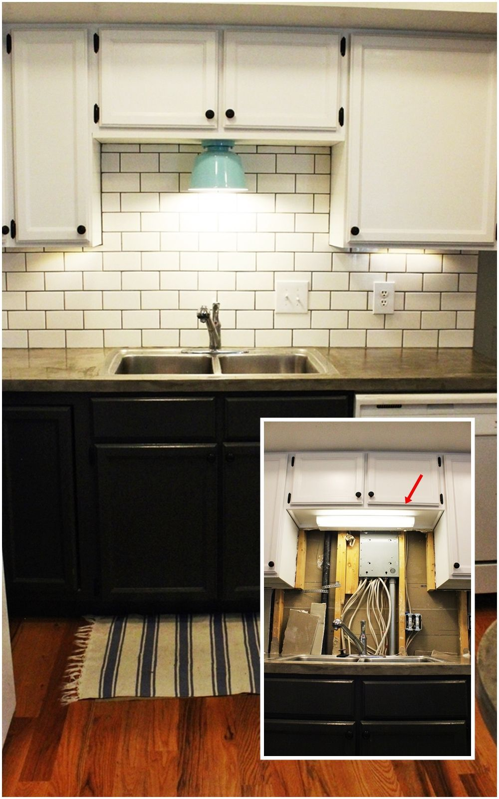 DIY Kitchen Lighting Upgrade LED UnderCabinet Lights Abovethe - Light fixtures above kitchen sink