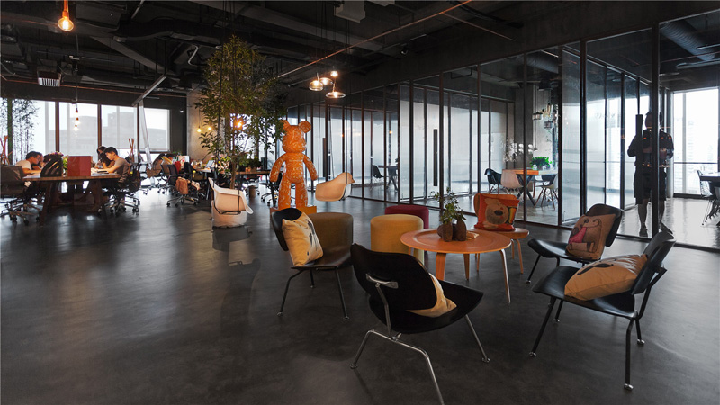 Modern Industrial Office Design. Leo Headquarters In Shanghai Cafeteria  Decor Modern Industrial Office Design