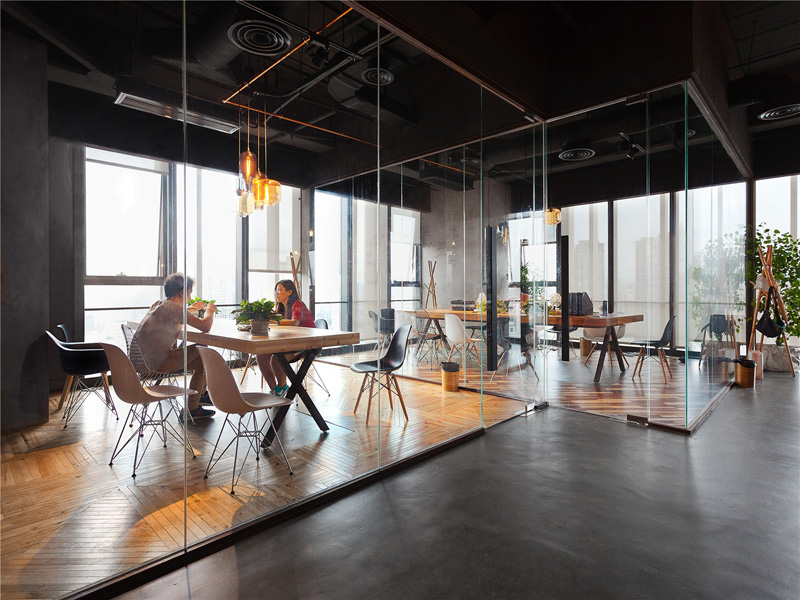 modern design office. leo headquarters in shanghai glass walls