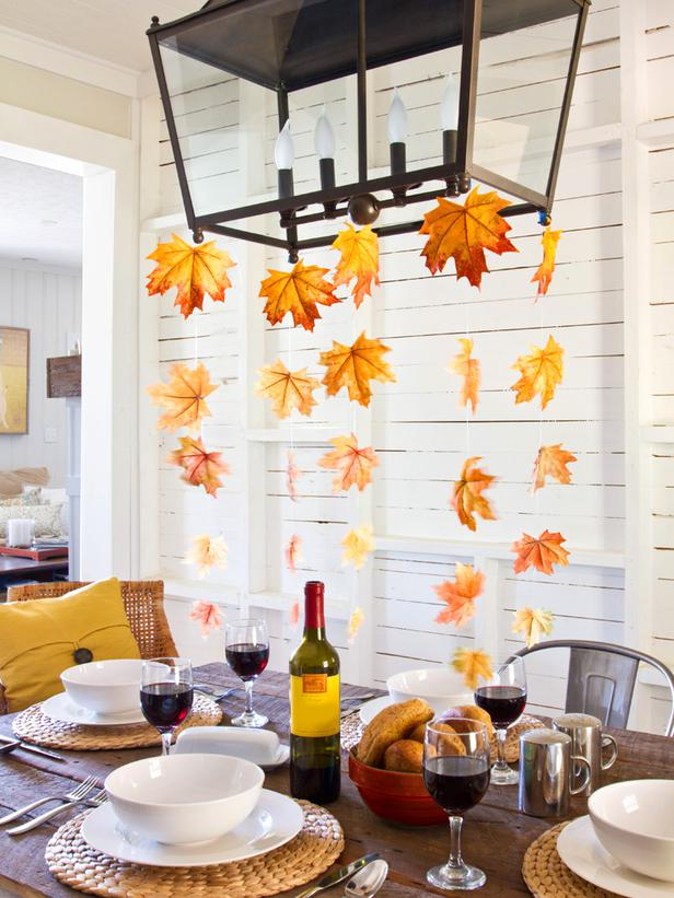 Leaves above the dining table this fall