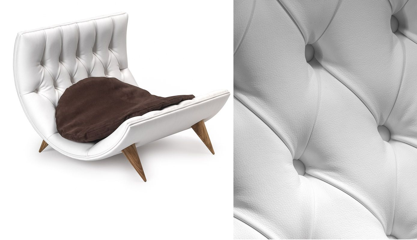 Luxury curved leather bed