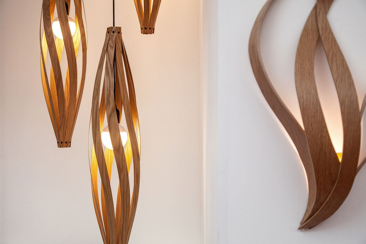 MacMaster crafts these Cocoon pendants -- which come in a variety of sizes -- from ultra durable timber laminations.