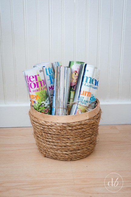 Magazine basket wrapped with rope