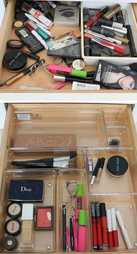 Makeup drawer organization through clear plastic containers