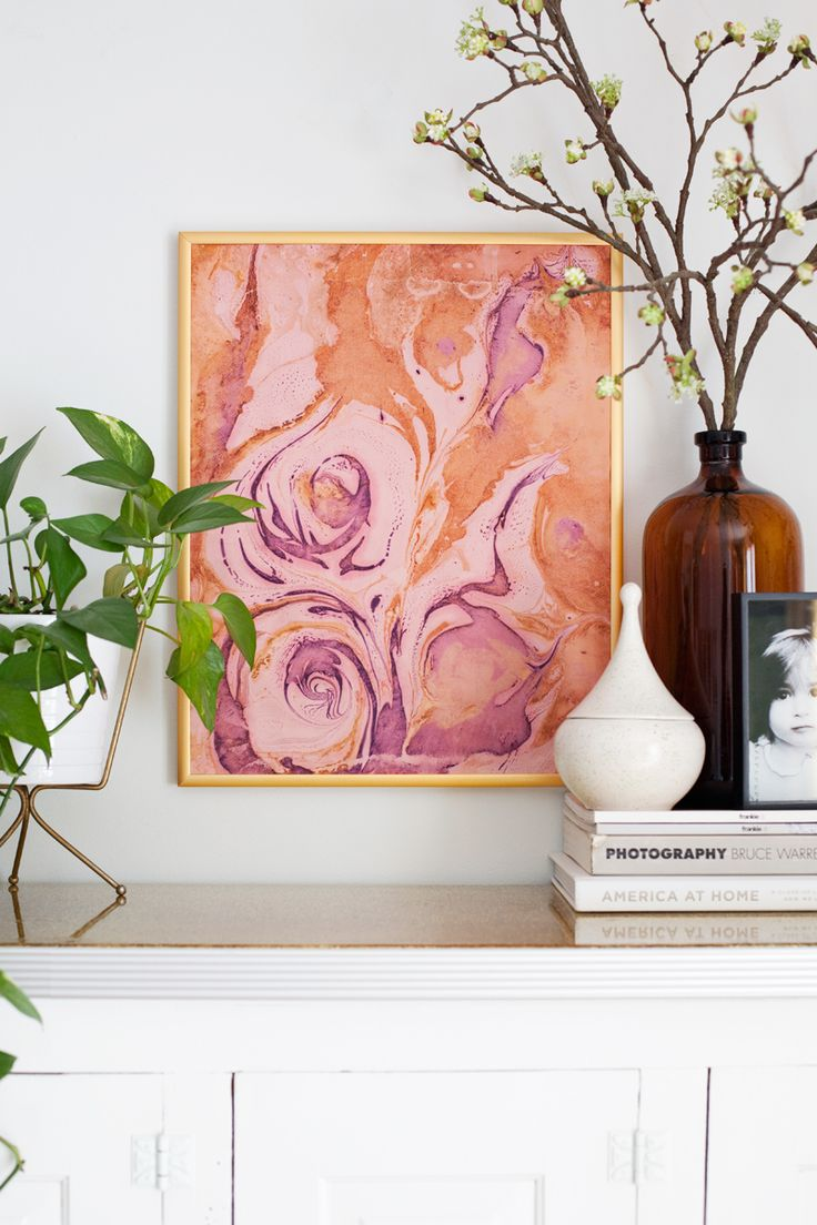 Marbled paper gallery wall