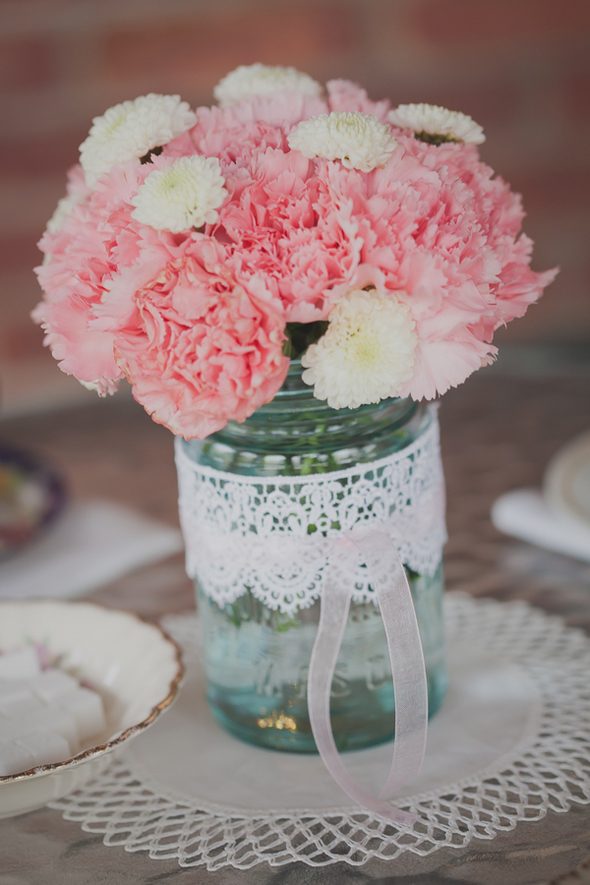 mason jar tea party flowers
