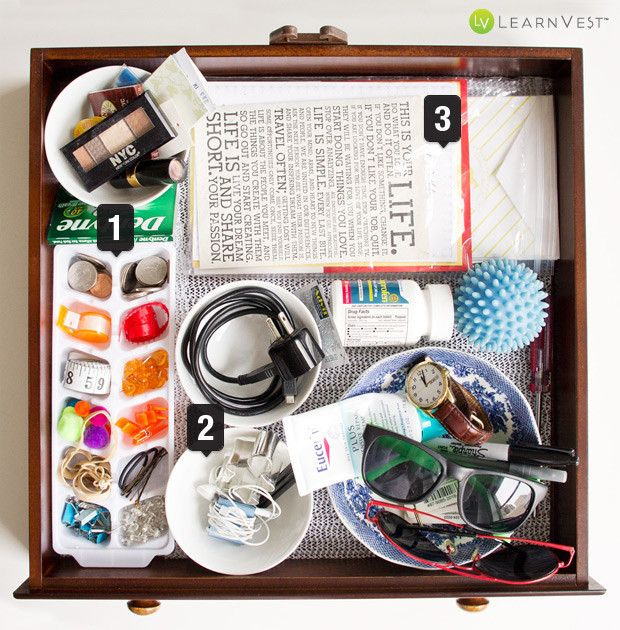 Mess junk drawer after organization