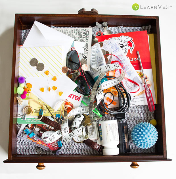 Mess junk drawer before organization