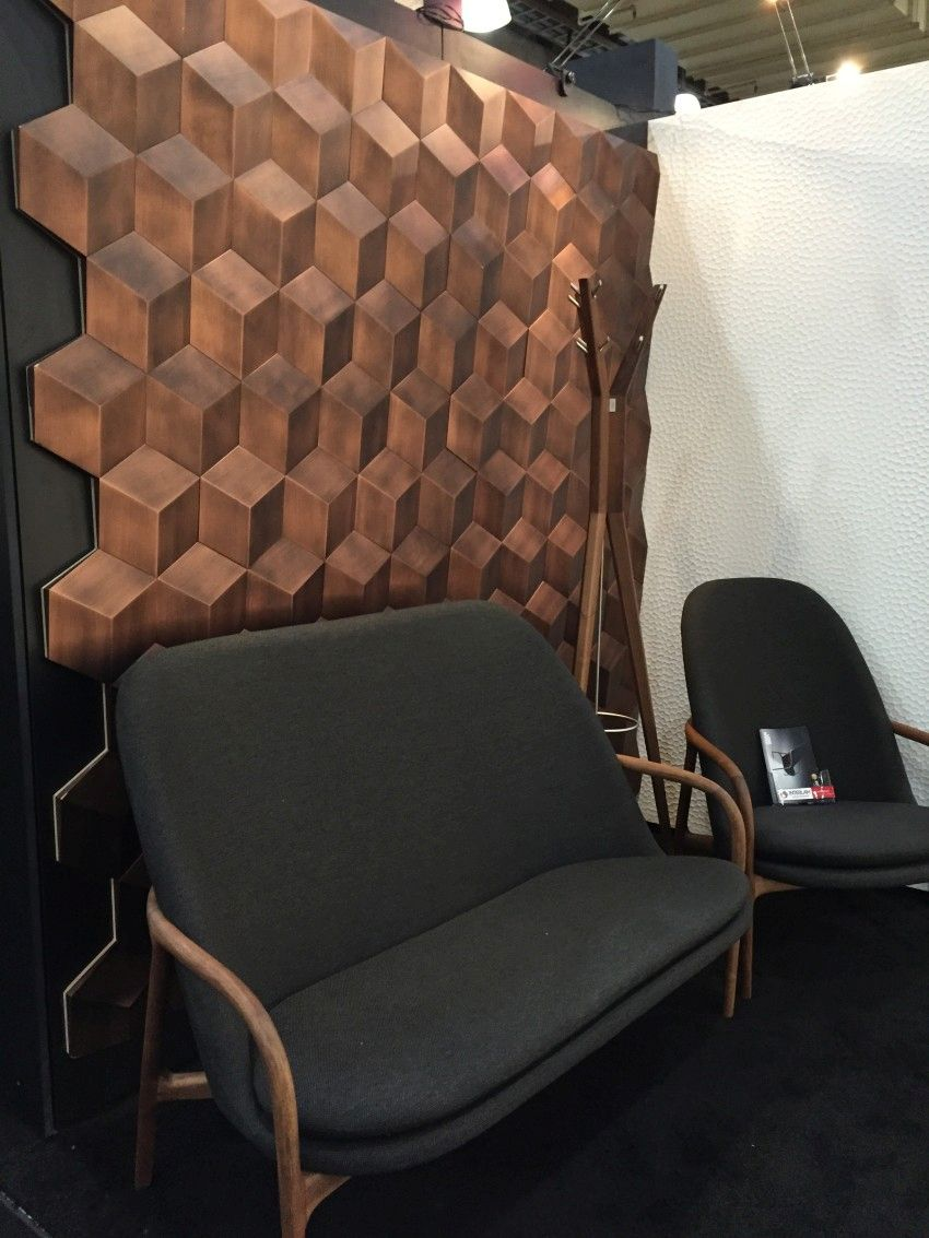 Modern High back Sofa with a wood 3D wall