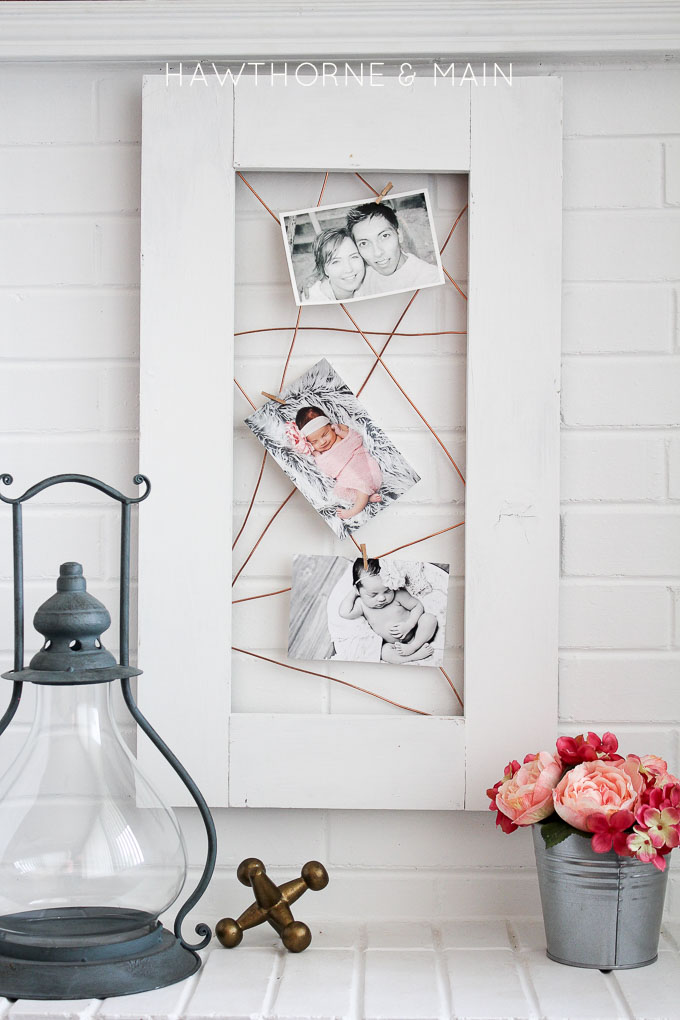 Modern copper and wire photo frame display