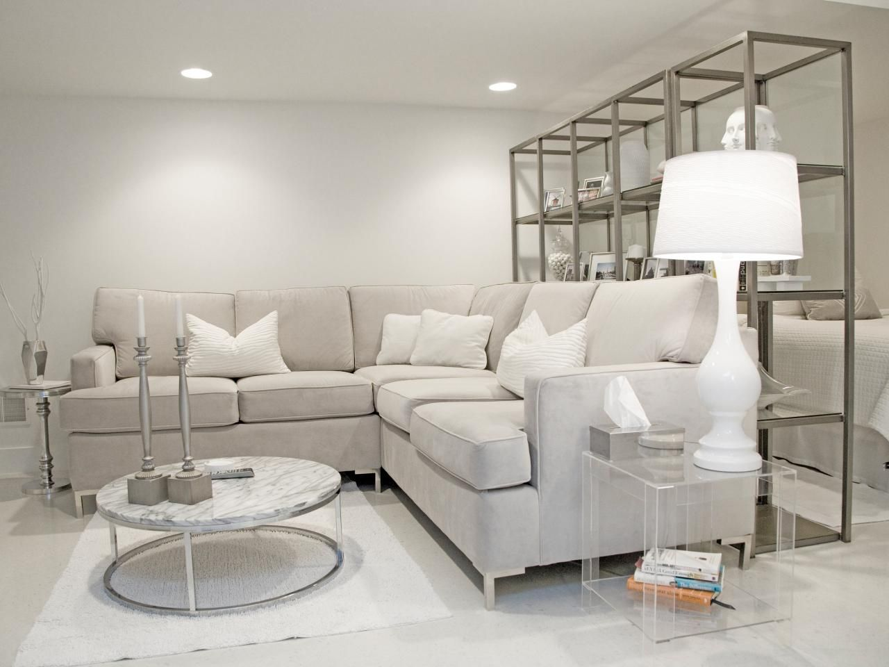 Modern white living room with few touches of grey. Grey in Home Decor  Passing Trend or Here to Stay