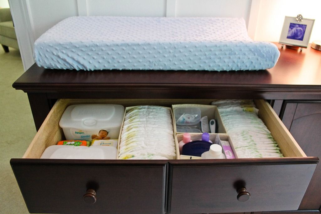 Nursery changing table drawer organization