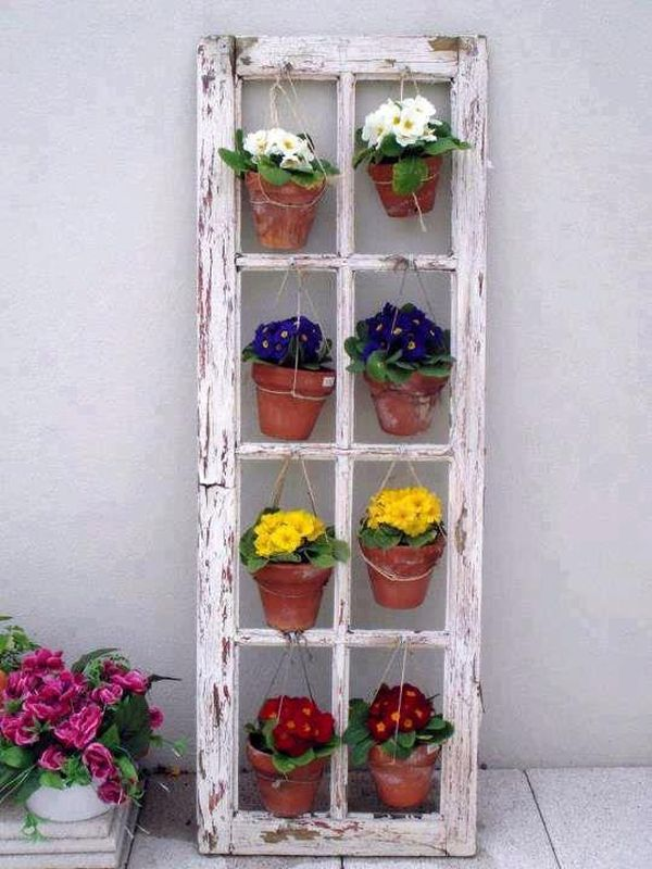 Old window turned into a hanger planter
