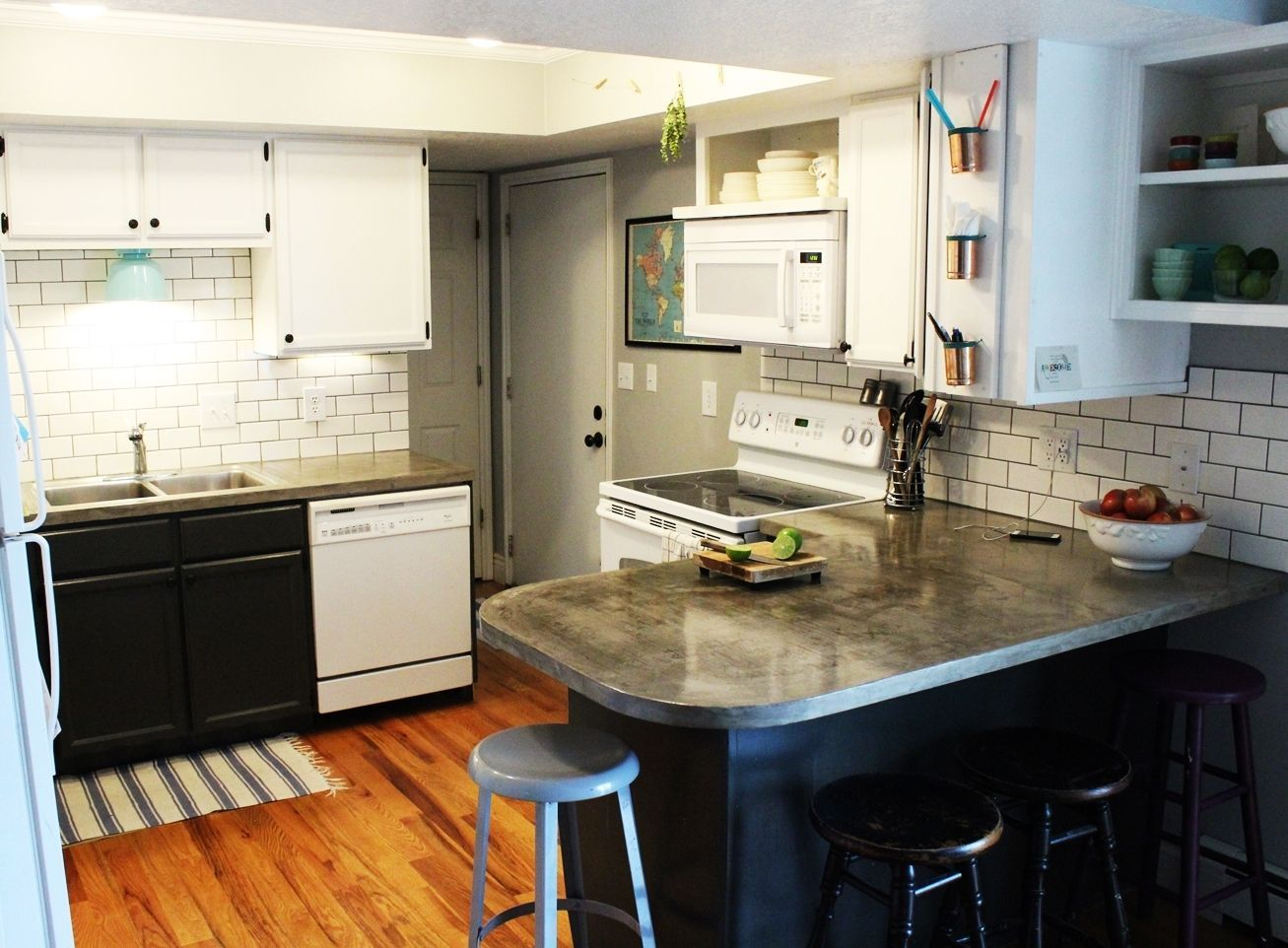 Overall Kitchen Pictures with Subway Tile Backsplash and Concrete Countertop
