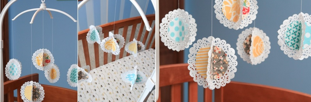 Paper doilies and patterned fabric
