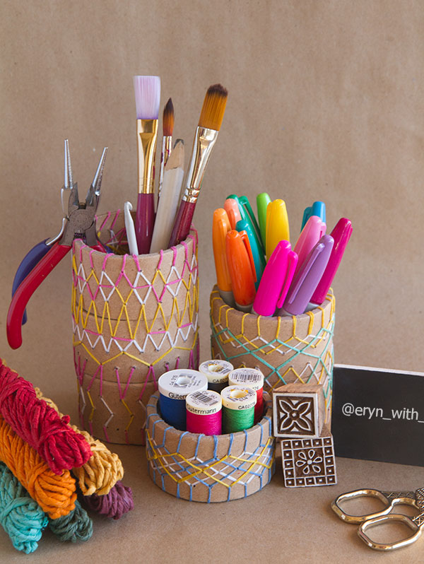 Pencil Holder DIY for the Crafty Desk