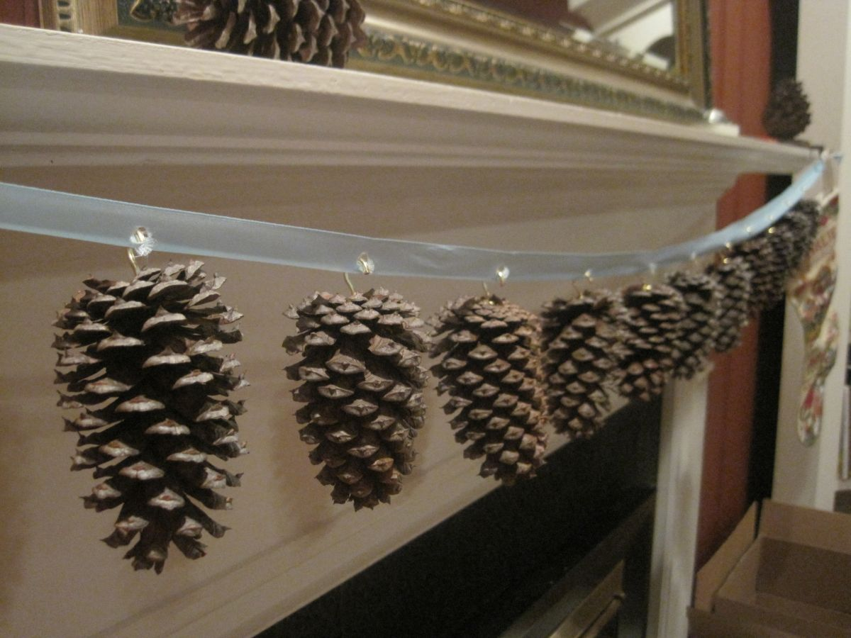 Pine cones for fireplace mantel