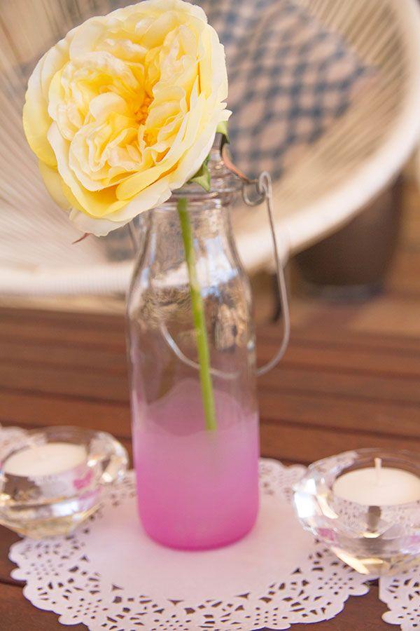Pink Dip Dyed Flower Vase