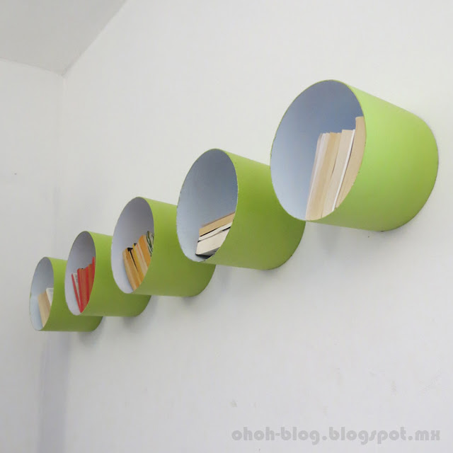 Plastic buckets turned into shelves