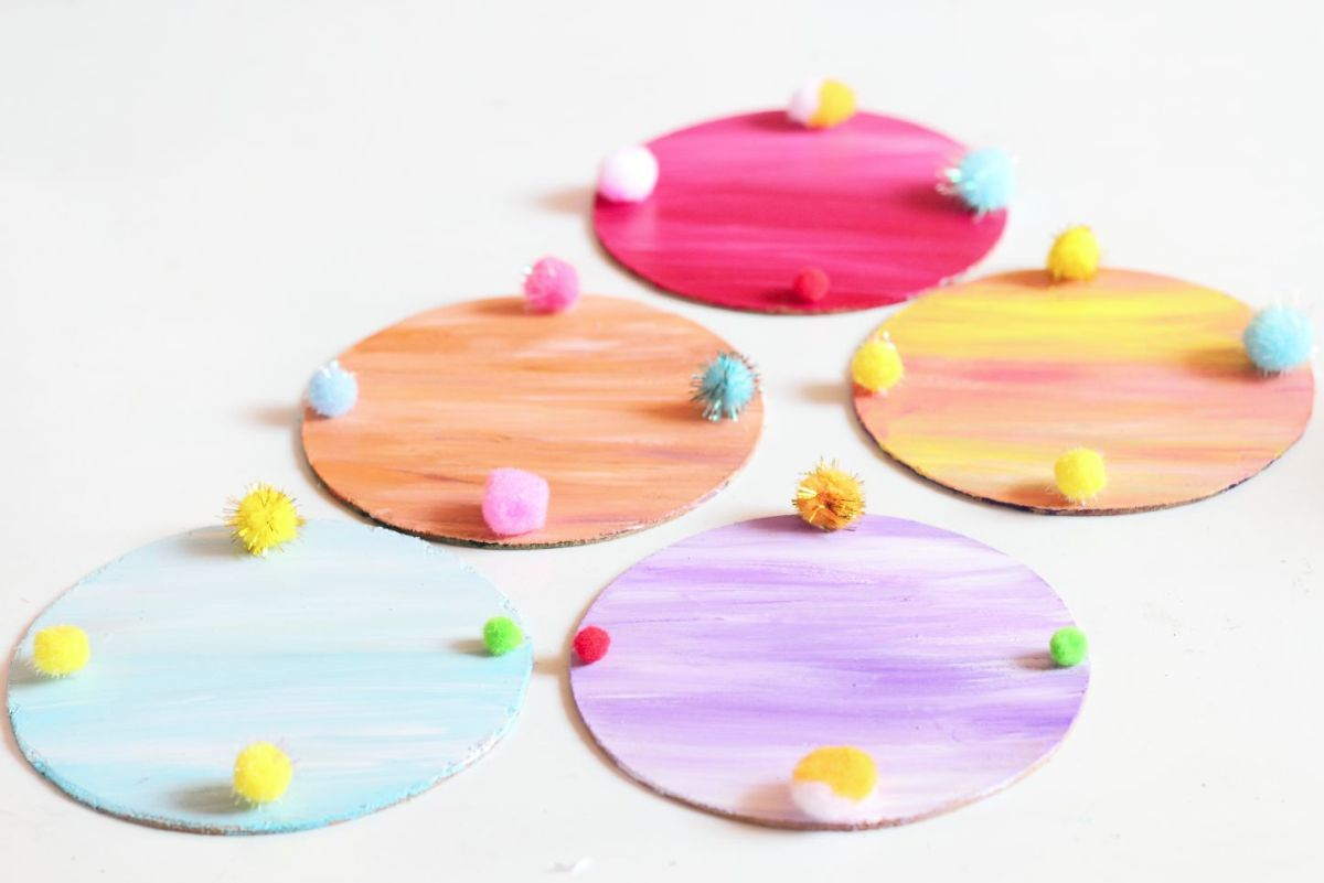 Pom Pom painted coasters