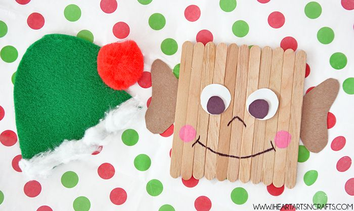 Popsicle stick elf kids craft