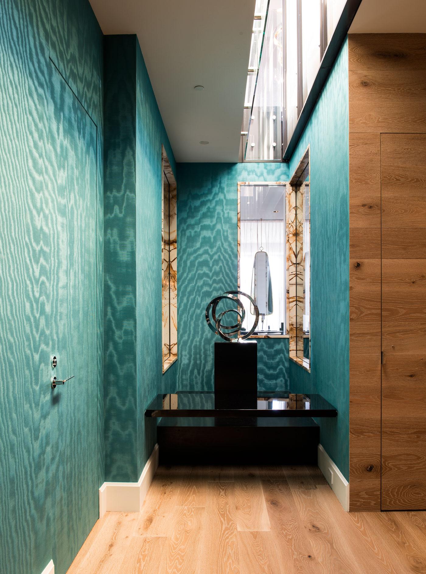 Redpath residence turquoise hallway walls