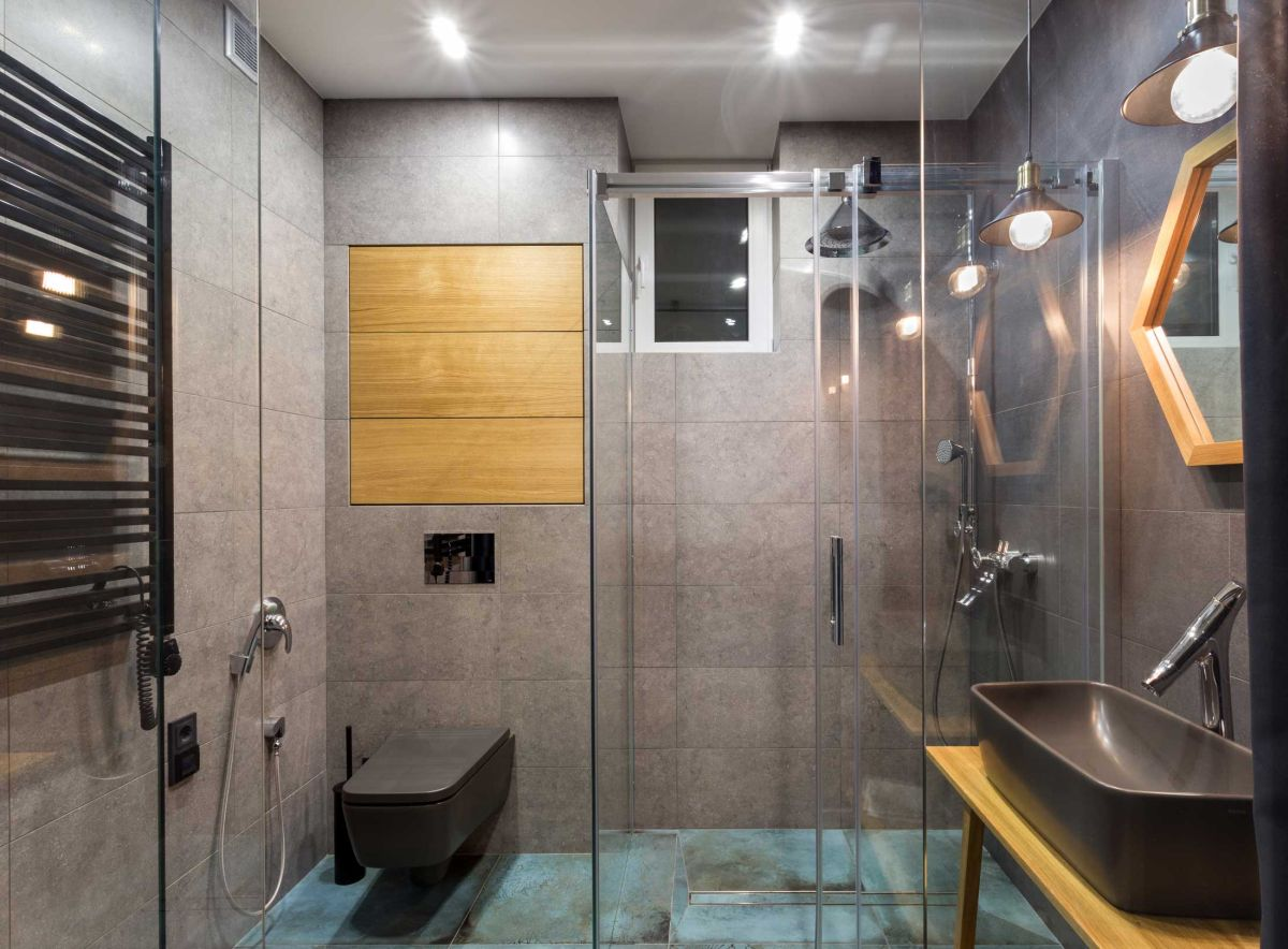 Remodeled Kiev apartment bathroom shower