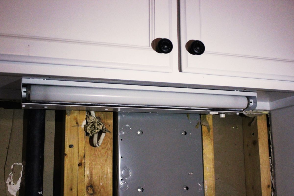 Diy kitchen lighting upgrade led under cabinet lights above the removing the old kitchen lighting fixture aloadofball