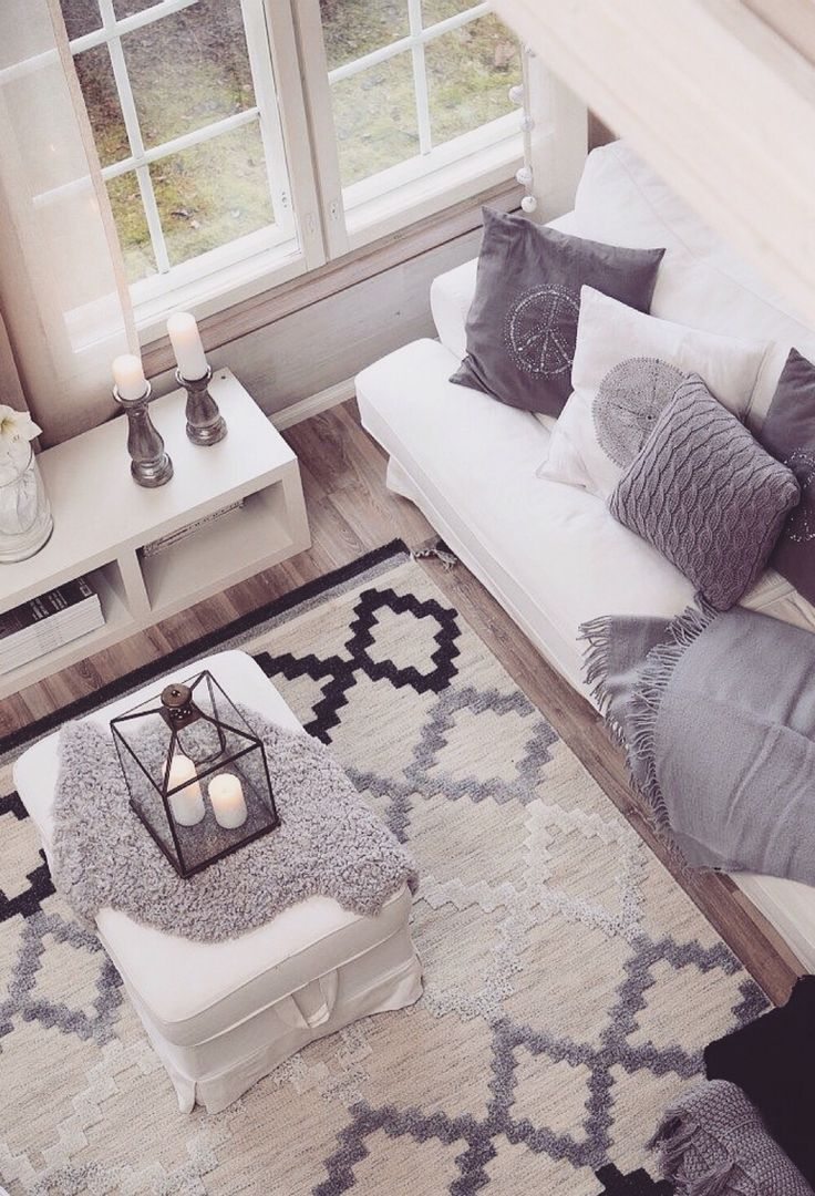 Scandinavian touch with grey accents for living