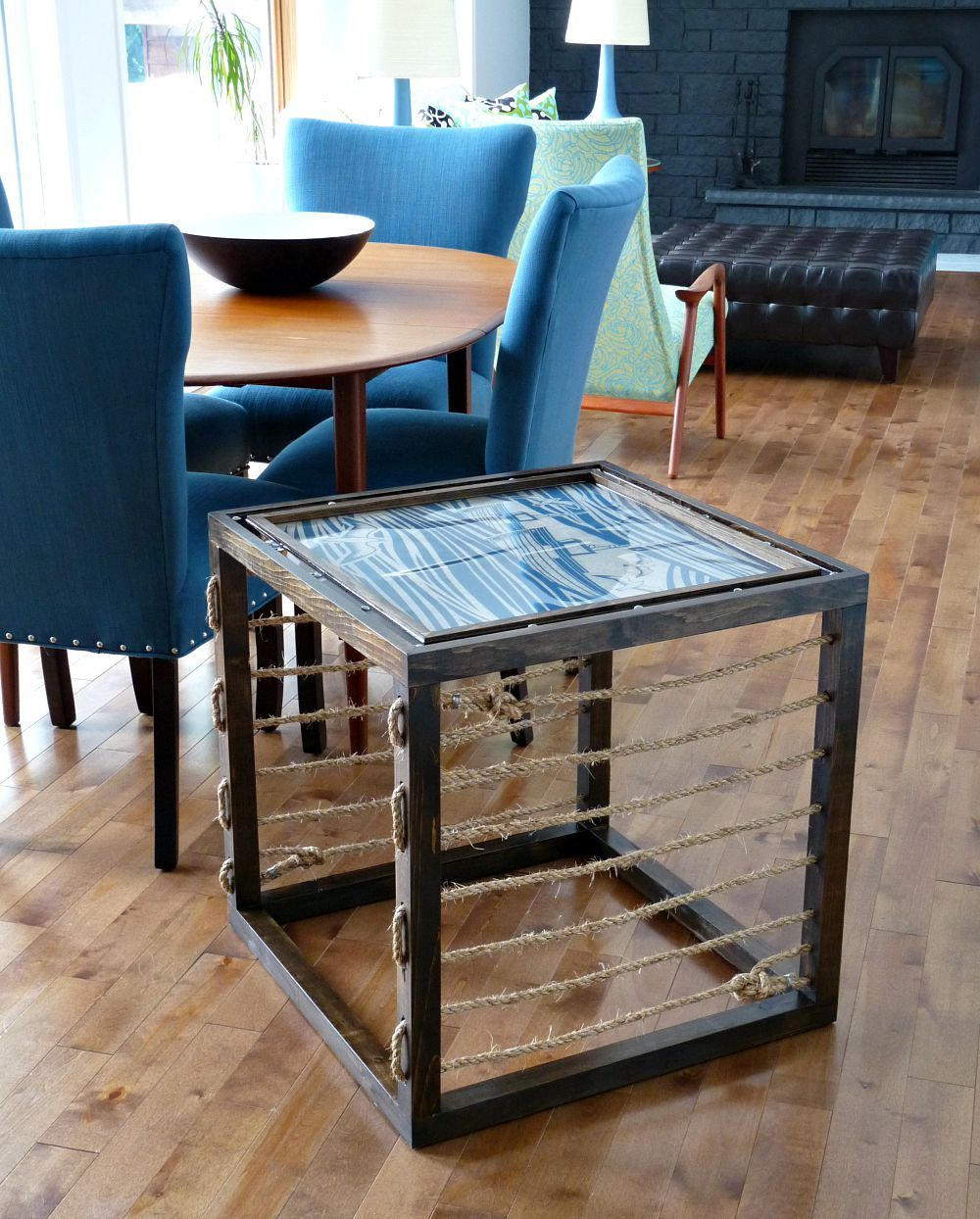 Simple accent coffee table featuring rope