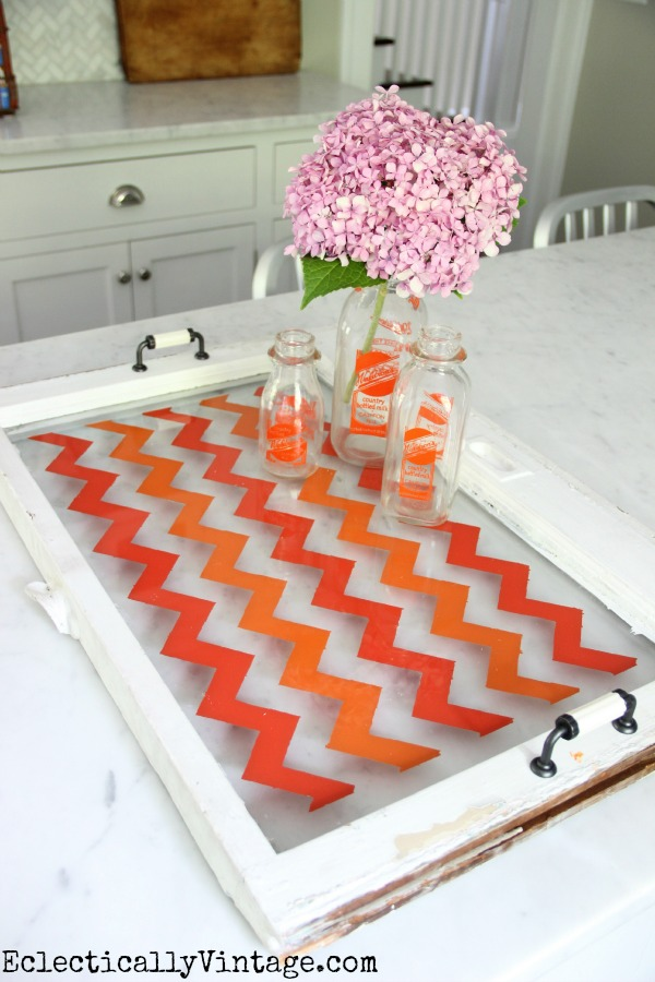 Small old window turned into a Chevron Tray