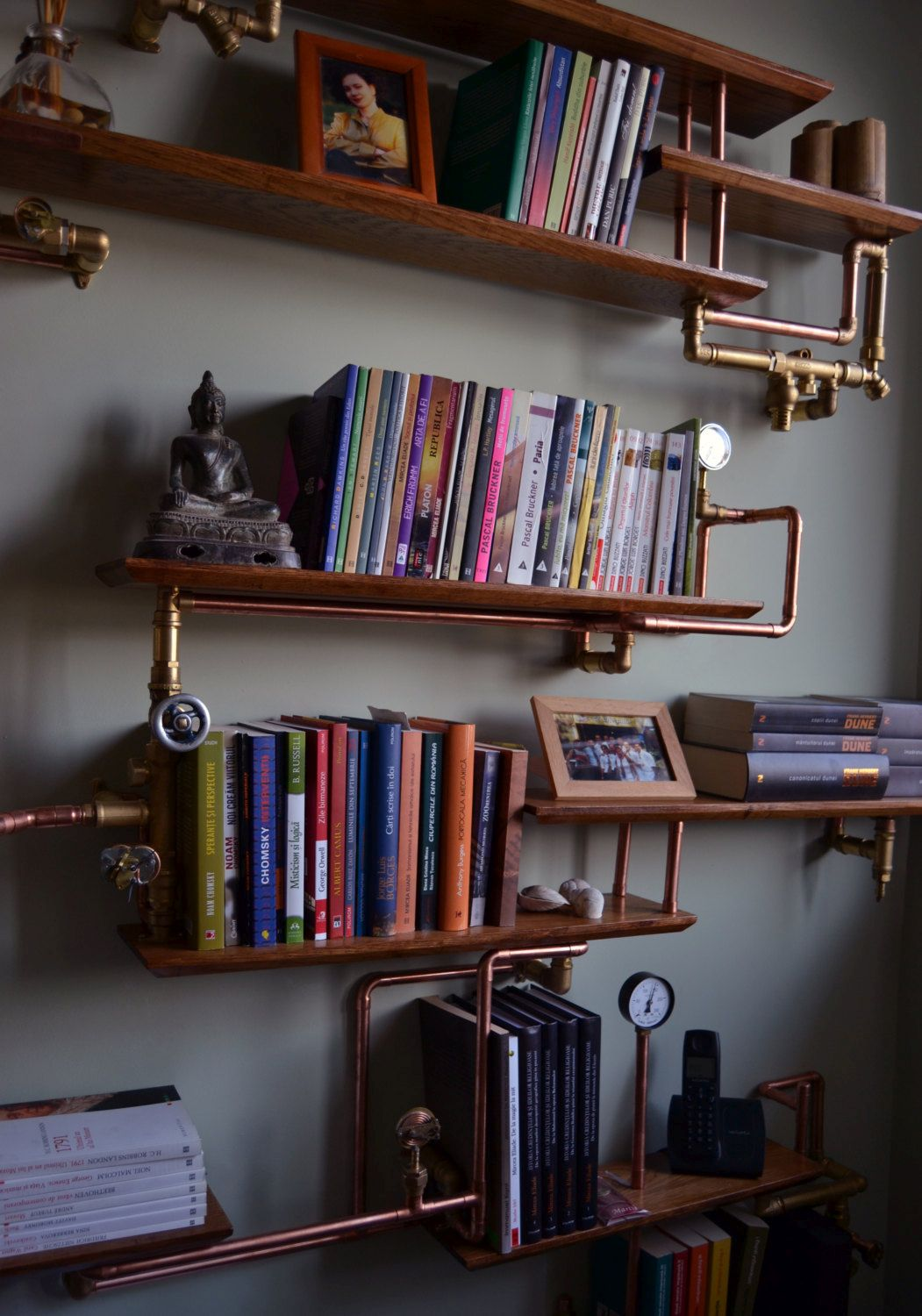 Steampunk industrial bookshelf