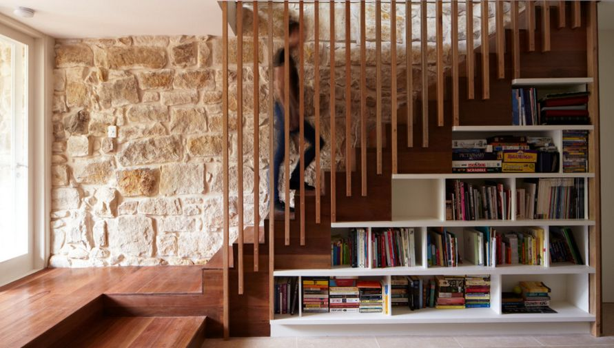 Storage and staircase wall design