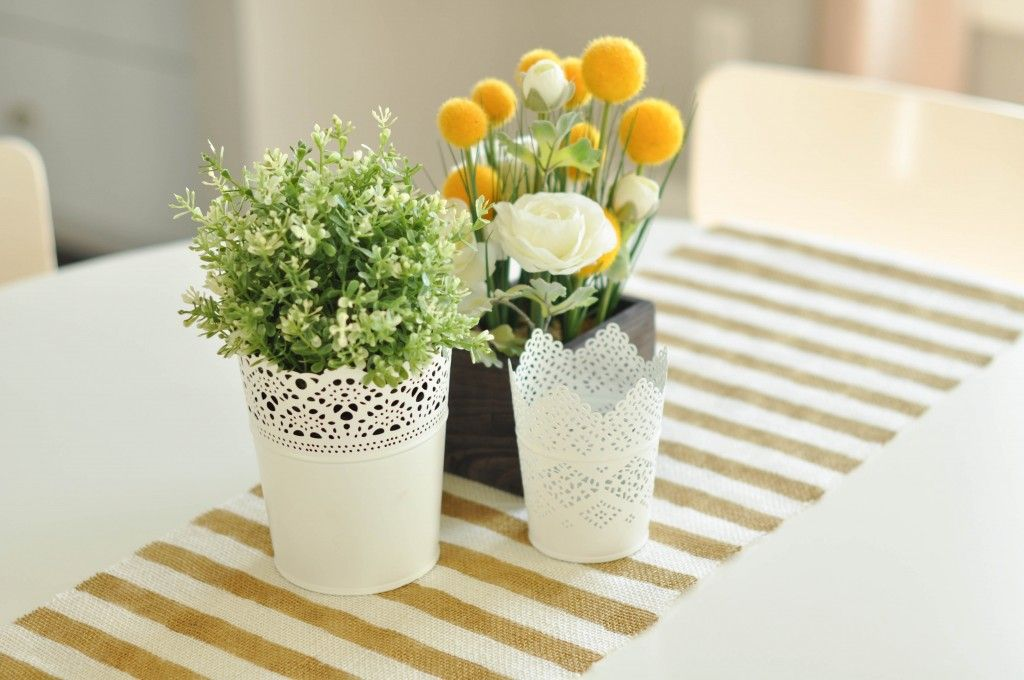 Striped burlap table runner