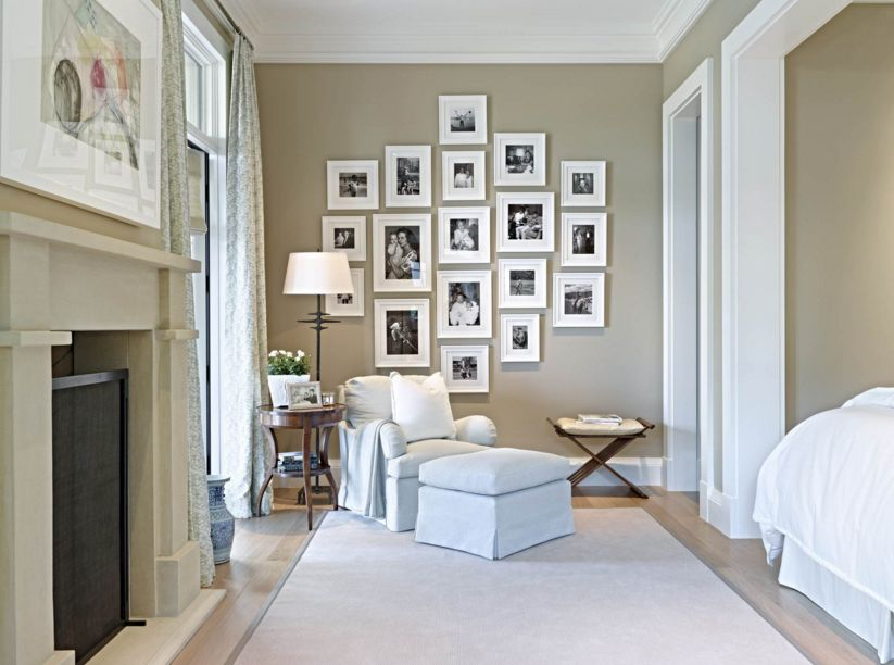 Taupe bedroom paint color and beautiful way to display family pictures